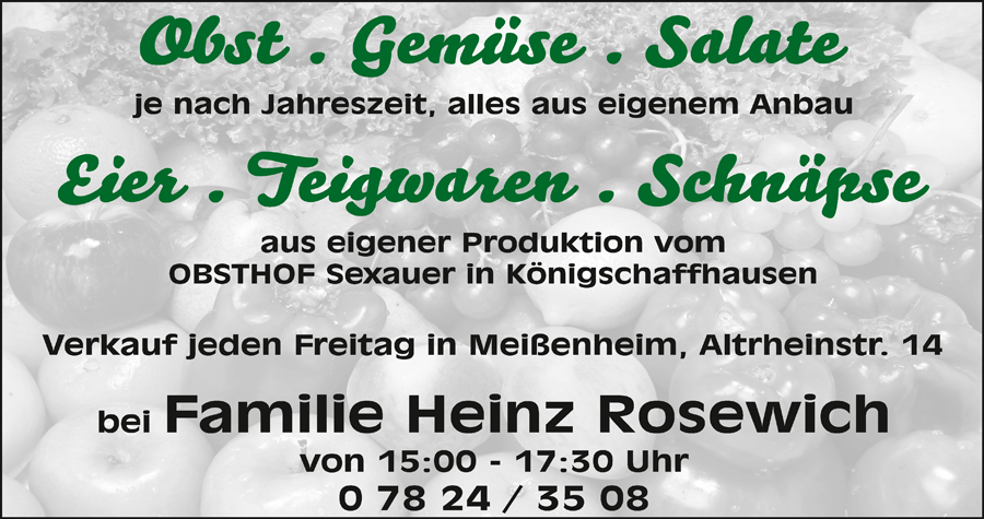 Heinz Rosewich Obst - Gemüse - Salate - Eier - Teigwaren - Schnäpse